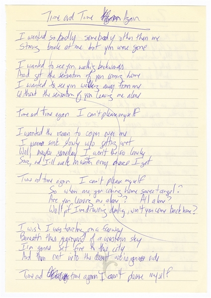 "Adam Duritz Handwritten Counting Crows ""Time and Time Again""  and ""Rain King"" Working Lyrics"