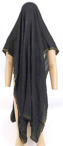 Michael Jackson Owned and Worn Large Black Sheer Scarf with Gold Edging