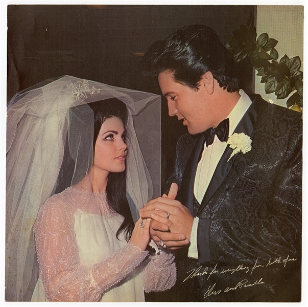 Elvis Presley & Priscilla Promotional Wedding Photograph with Facsimile Signatures