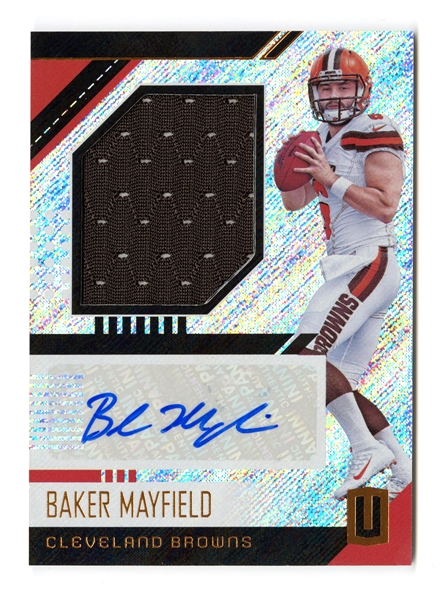 Baker Mayfield 2018 Panini Unparalleled Autograph Patch Rookie Card
