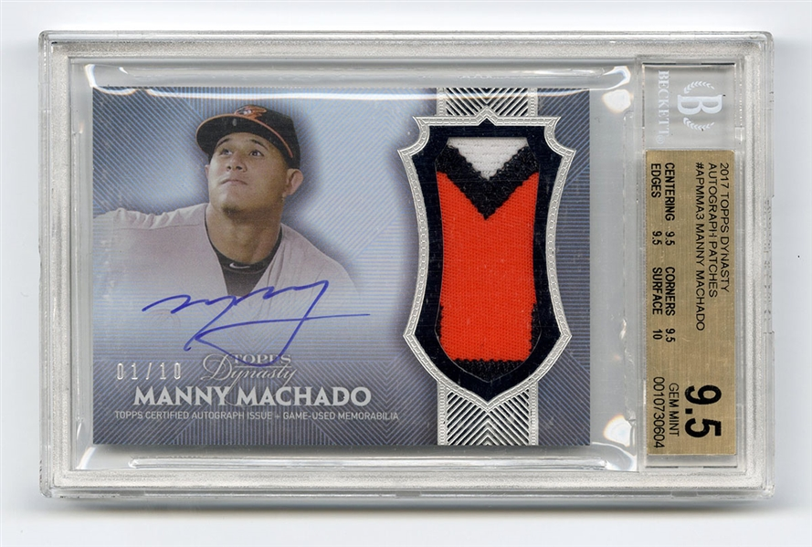 Manny Machado Signed 2017 Topps Dynasty Autograph Game Used Patch Card 1/10 BGS 9.5 Gem Mint 10 Autograph