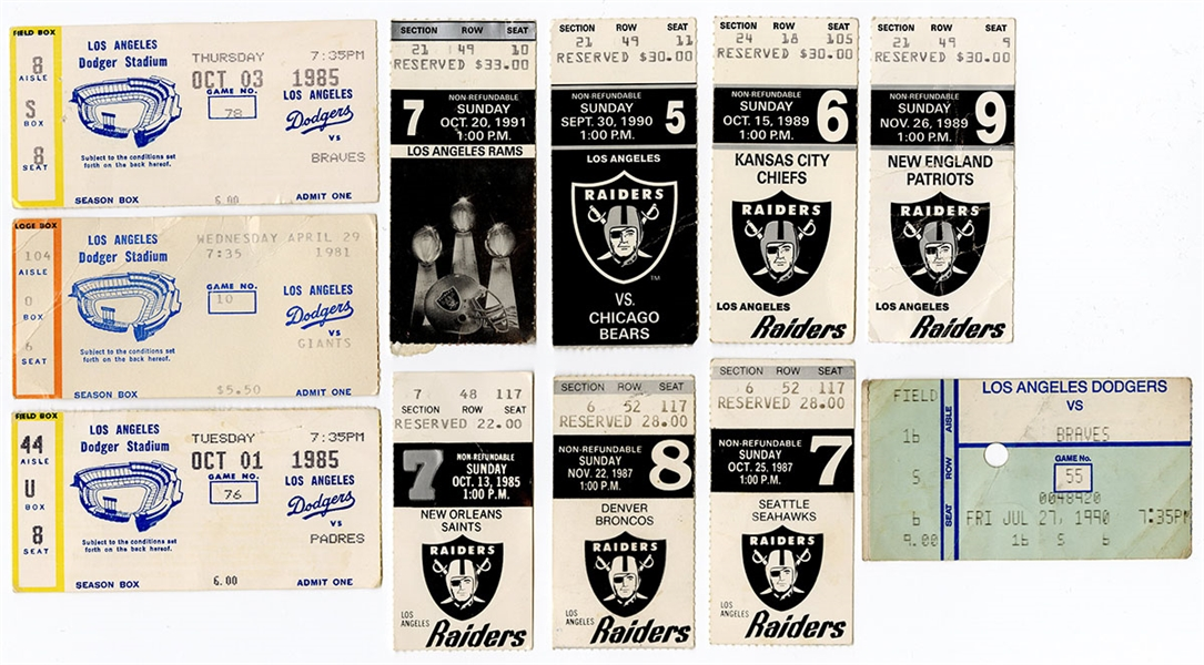 Los Angeles Dodgers, Raiders and Rams Ticket Archive