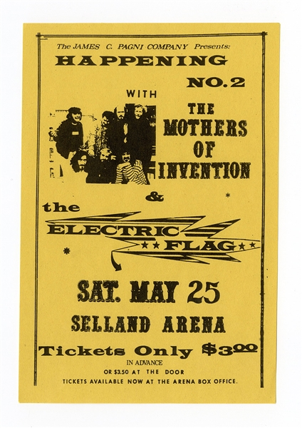 Frank Zappa/The Mothers of Invention and The Electric Flag Original 1968 Concert Handbill