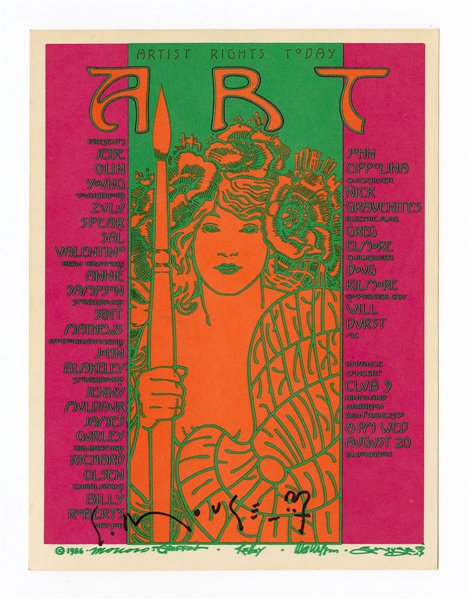 "Jerry Garcia, Merl Saunders Original Artists Rights Today ""ART""  Stanley Mouse Signed Concert Handbills (2)"