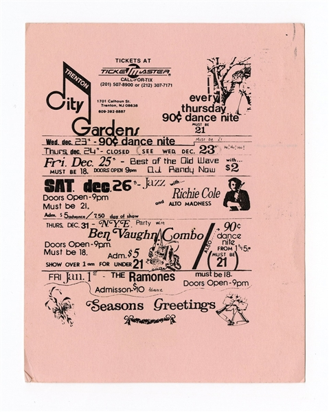 The Ramones Original Trenton City Gardens Concert Postcard Mailer
