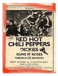 "Red Hot Chili Peppers Original 1986  ""Freaky Styley Tour"" Concert Handbill Also Featuring Guns N Roses"