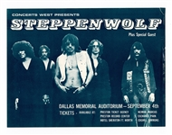Steppenwolf Original 1969 Dallas Memorial Auditorium Concert Handbill