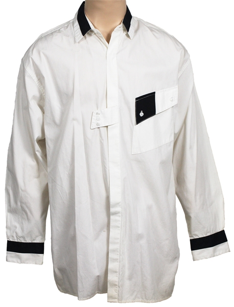 Michael Jackson Owned and Worn Long-Sleeved White Shirt with Black Accents