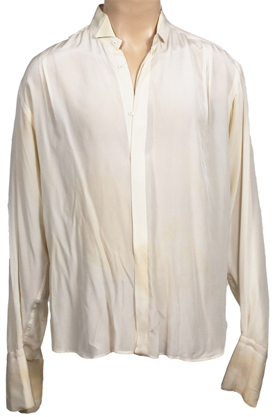 Michael Jackson Owned and Worn Long-Sleeved Off-White Silk Shirt