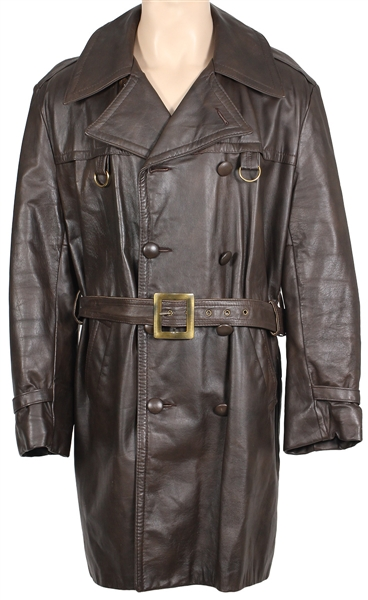 James Brown Owned and Worn Brown Leather Belted Coat