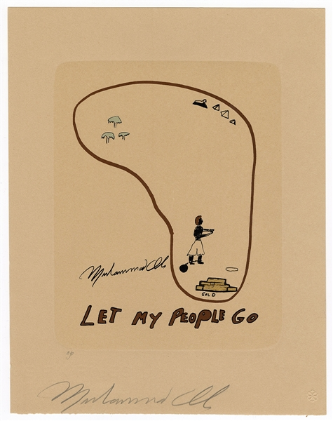 "Muhammad Ali Signed ""Let My People Go"" Original Serigraph"