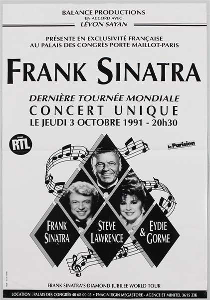 Frank Sinatra Original 1991 French Concert Poster
