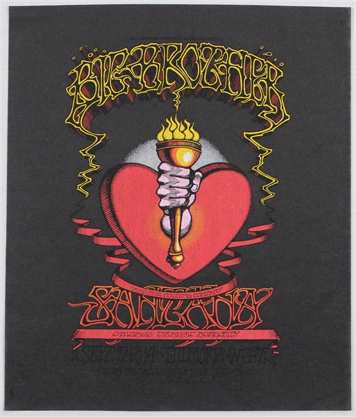 Big Brother and The Holding Company (Janis Joplin) and Santana Original Fillmore Concert Poster Pellon