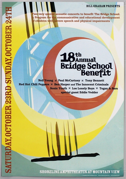 18th Annual Bridge School Benefit Concert Poster Featuring Neil Young, Paul McCartney, Tony Bennett and More