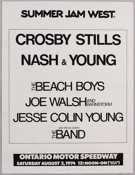 Summer Jam Festival Original 1974 Concert Poster Featuring Crosby, Stills, Nash and Young, The Band, The Beach Boys and Joe Walsh