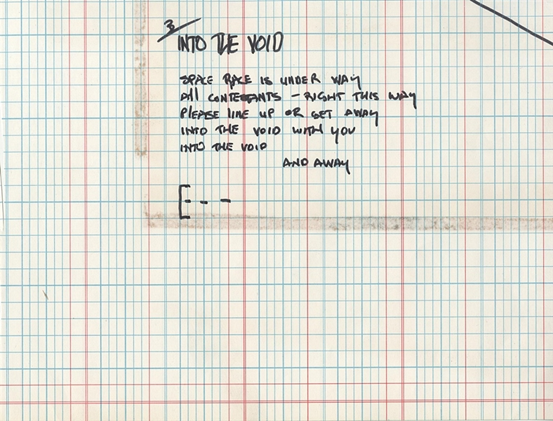 "Gene Simmons Handwritten ""Into The Void"" Lyrics"