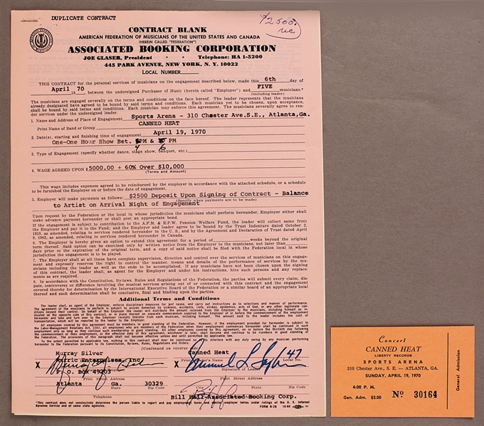 Canned Heat Original 1970 Performance Contract