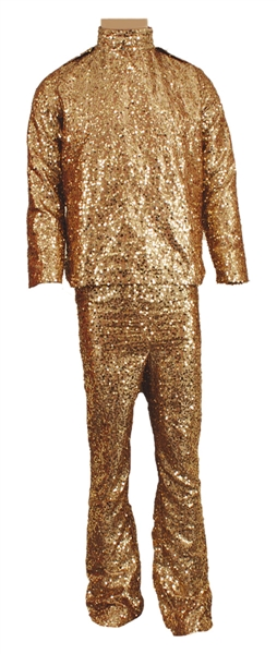 Prince Stage Worn and Personally Owned Gold Sequin Two-Piece Outfit