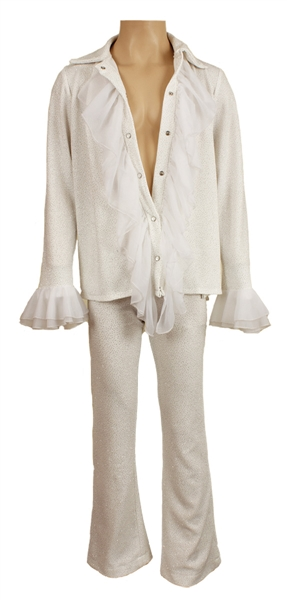Prince Stage Worn and Personally Owned White Ruffled Two-Piece Outfit