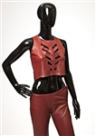 "Spice Girl Victoria Beckham ""Not Such an Innocent Girl"" Stage Worn Red Leather Cut-Out Top and Trousers"
