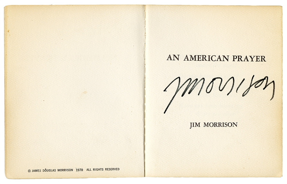 "Jim Morrison Signed Original 1970 Print Copy of ""An American Prayer"" Owned by Ray Manzarek"