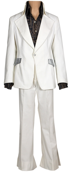 Elvis Presley  1972 Las Vegas Hilton Stage Worn Bill Below Custom IC Costume Company White Suit and Blue Paisley Shirt