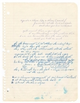 "Bruce Springsteen ""Linda Let Me Be The One"" Handwritten Working Lyrics Circa 1975"