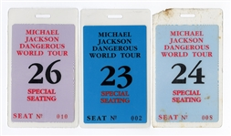"Michael Jacksons Personally Owned ""Dangerous World Tour"" Special Seating Laminates (3)"