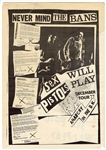 """Sex Pistols Will Play Never Mind The Bans"" Original 1977 Concert Poster"