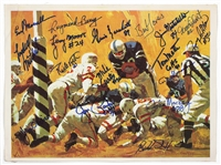 Football Hall of Fame Signed Lithograph By 17 Hall of Famers JSA Guarantee