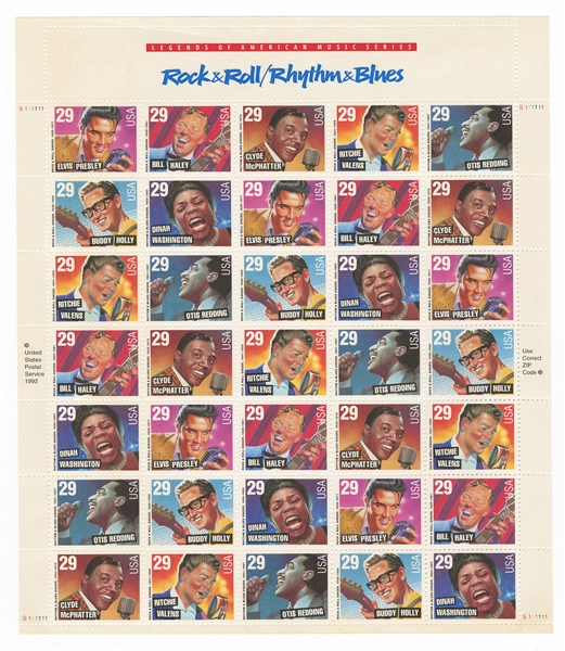 Elvis Presley Sheet of Legends of American Music Series Rock & Roll/Rhythm & Blues Stamps