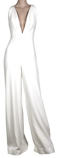 Kylie Jenner Bellami Beauty Bar Worn Max Azria Atelier Plunging White Jumpsuit