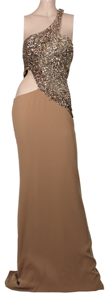 "Spice Girl Mel B ""Dancing with the Stars"" Worn Custom Nude and Sequin Floor-Length Dress"