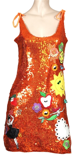 Miley Cyrus Worn Embellished Orange Sequin Dress