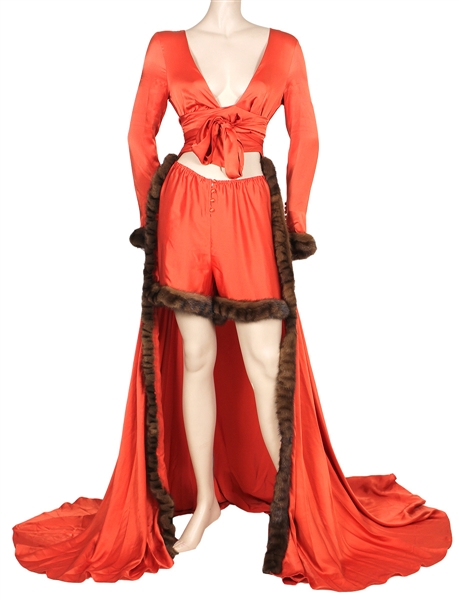 Lady Gaga 2014 Istanbul Worn Orange Satin and Fur Dressing Gown with Matching Shorts