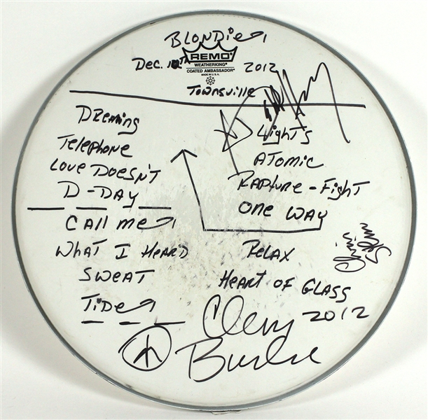 Blondie Signed and Set List Inscribed Drum Head