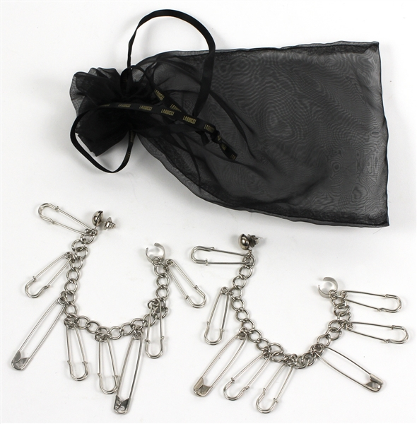 "Lady Gaga ""Jazz and Piano"" Stage Worn Laruicci Costume Silver Dangling Paper Clip Earrings"