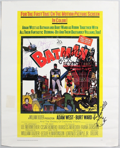 """Batman"" Movie Poster Signed by Adam West, Burt Ward and Lee Meriwether"