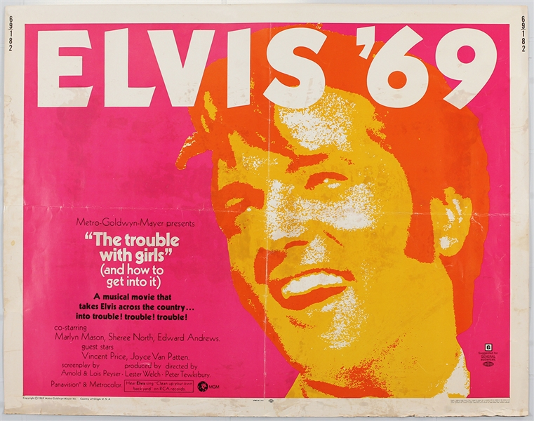 "Elvis Presley Elvis 69 ""The Trouble With Girls"" Original Half-Sheet Movie Poster"