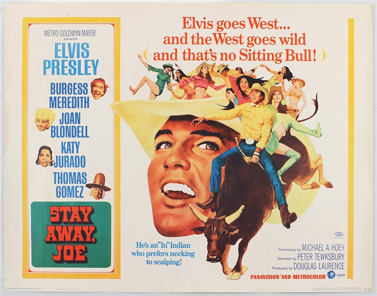 "Elvis Presley ""Stay Away Joe"" Original Half-Sheet Movie Poster"