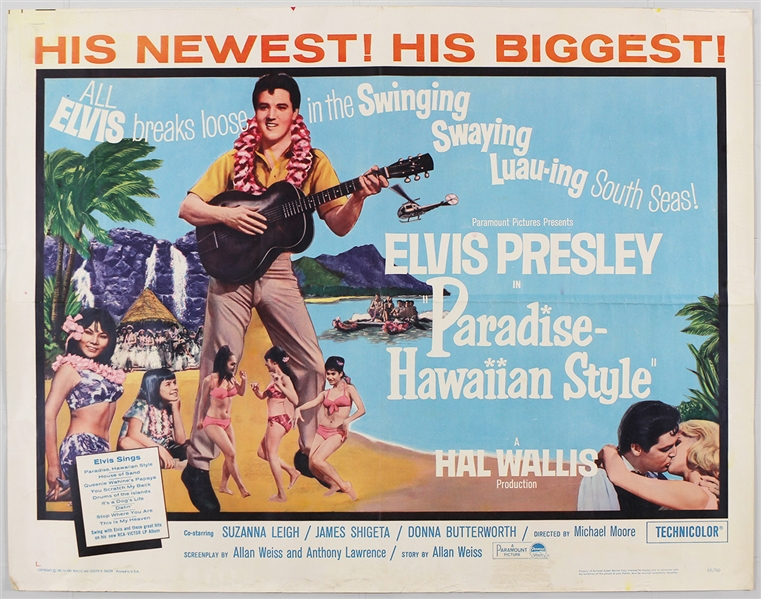 "Elvis Presley ""Paradise - Hawaiian Style"" Original Half-Sheet Movie Poster"