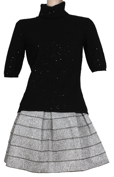 "Carrie Underwood ""The Tonight Show with Jimmy Fallon"" Stage Worn Silver Metallic Skirt and Black Sequin Cashmere Sweater"