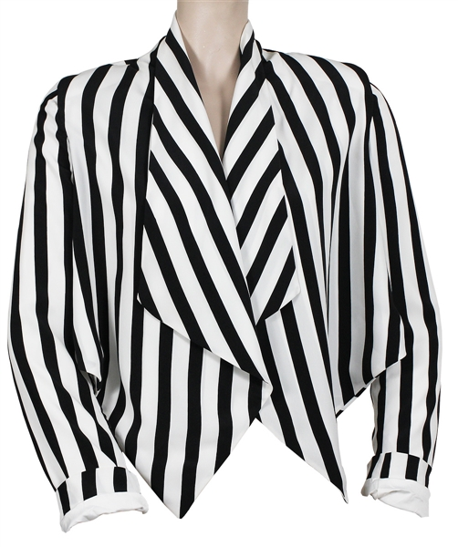 "Rihanna ""Whats My Name"" Music Video Worn Cropped Black & White Striped Blazer"