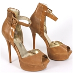 Prince Sheila E Owned, Worn Tan Leather Peek-A-Boo Stiletto  Shoes
