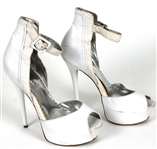Prince Sheila E Owned, Worn White Leather Peek-A-Boo Stiletto Shoes