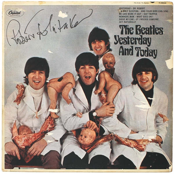 "Rare Beatles Original Vintage Yesterday and Today ""Butcher"" Cover Signed by Photographer Robert Whitaker"