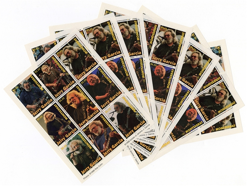 Grateful Deads Jerry Garcia Set of Limited Edition Commemorative Stamps - Montserrat