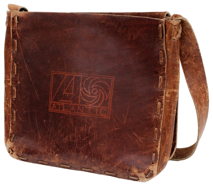 John Bonhams Owned and Used Brown Leather Atlantic Records Messenger Bag