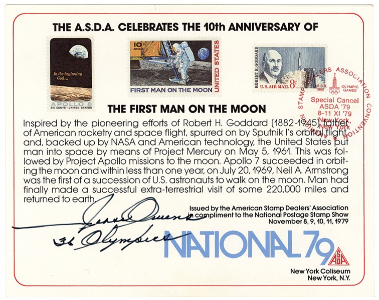 "Jesse Owens Signed & Inscribed ""The First Man on the Moon"" Stamp Card JSA LOA"