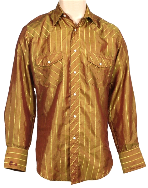 John Denver Owned & Worn Gold Striped Wrangler Western Shirt
